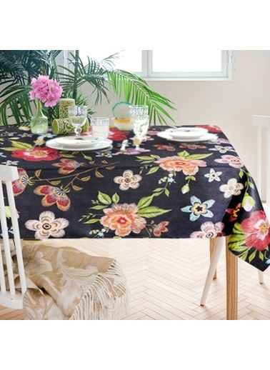 The Mia Floral Masa Örtüsü A - 230 x 150 Cm - Siyah Çiçekli Siyah